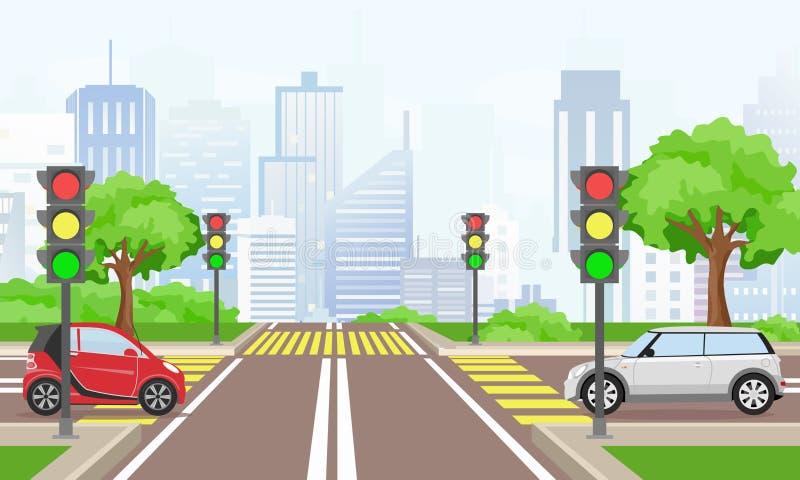 Διανυσματική απεικόνιση του οδικού σταυρού με τα αυτοκίνητα στη μεγάλη σύγχρονη πόλη Οδός με τους φωτεινούς σηματοδότες στο επίπε απεικόνιση αποθεμάτων