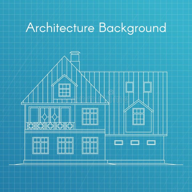 Διανυσματική απεικόνιση του οικογενειακού σπιτιού ή του εξοχικού σπιτιού το τρισδιάστατο σχεδιάγραμμα αρχιτεκτονικής καθιστά άσπρ διανυσματική απεικόνιση