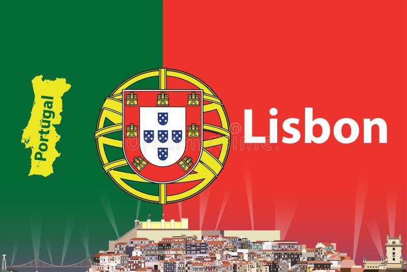 Διανυσματική απεικόνιση του ορίζοντα πόλεων της Λισσαβώνας με τη σημαία και χάρτης της Πορτογαλίας στο υπόβαθρο ελεύθερη απεικόνιση δικαιώματος