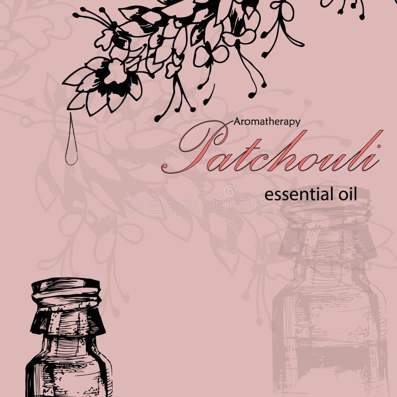 Διανυσματική απεικόνιση του ουσιαστικού πετρελαίου patchouli διανυσματική απεικόνιση