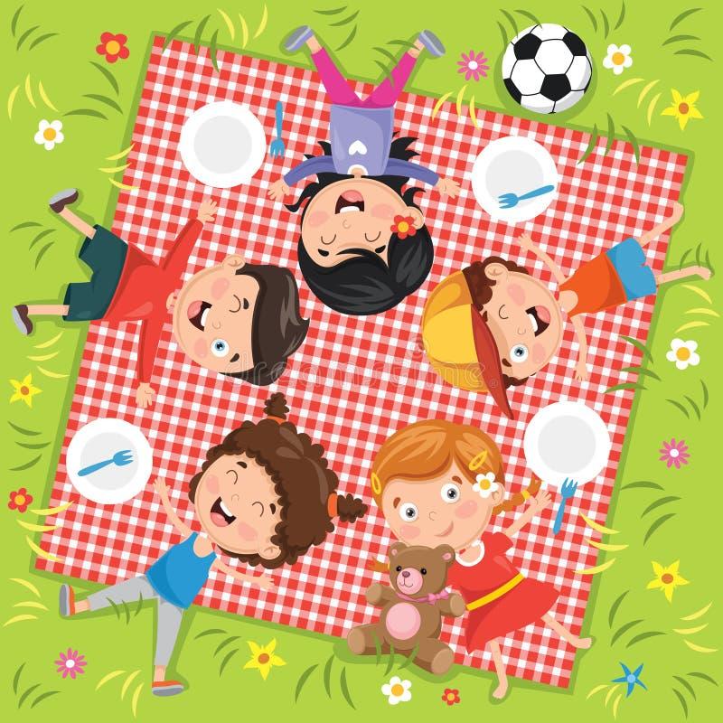 Διανυσματική απεικόνιση του πικ-νίκ παιδιών ` s ελεύθερη απεικόνιση δικαιώματος