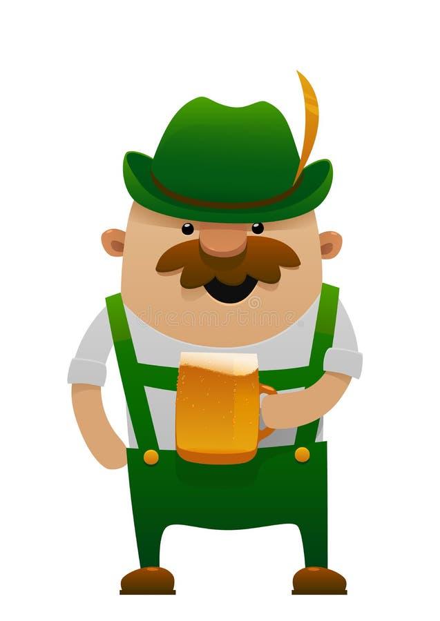 Διανυσματική απεικόνιση του πιό oktoberfest ατόμου διασκέδασης κινούμενων σχεδίων με την μπύρα ελεύθερη απεικόνιση δικαιώματος