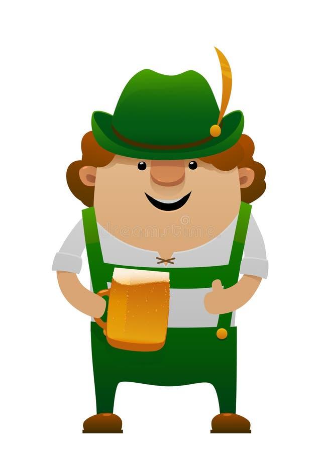 Διανυσματική απεικόνιση του πιό oktoberfest ατόμου διασκέδασης κινούμενων σχεδίων με την μπύρα διανυσματική απεικόνιση
