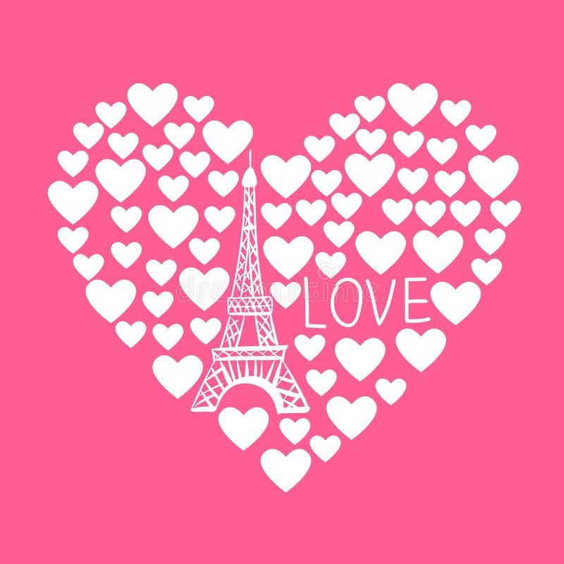 Διανυσματική απεικόνιση του πύργου του Άιφελ στην καρδιά των καρδιών ελεύθερη απεικόνιση δικαιώματος