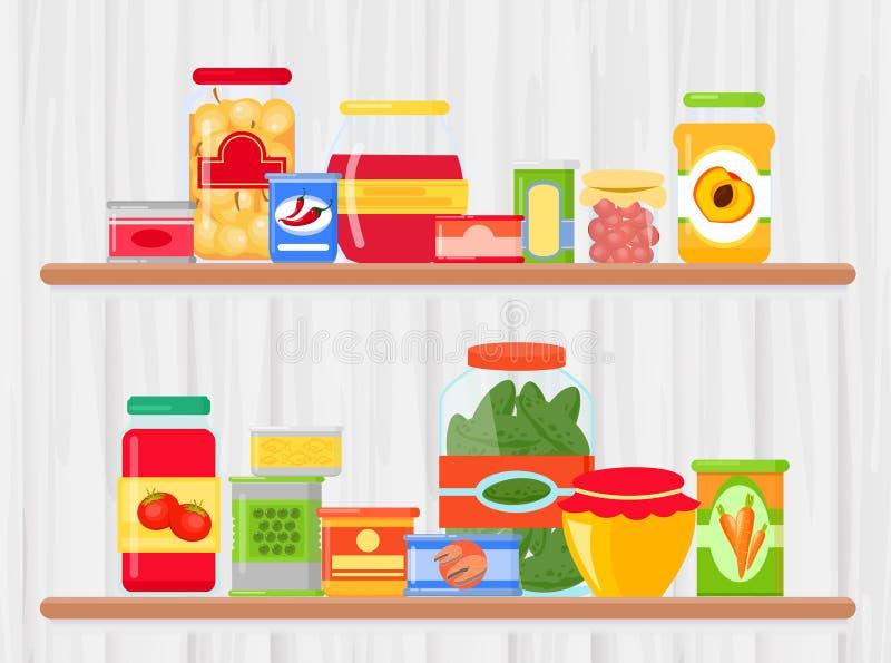 Διανυσματική απεικόνιση του ραφιού στο μανάβικο με τα τρόφιμα Γεύμα που συντηρείται σε μια στάση εμπορευματοκιβωτίων μετάλλων και απεικόνιση αποθεμάτων