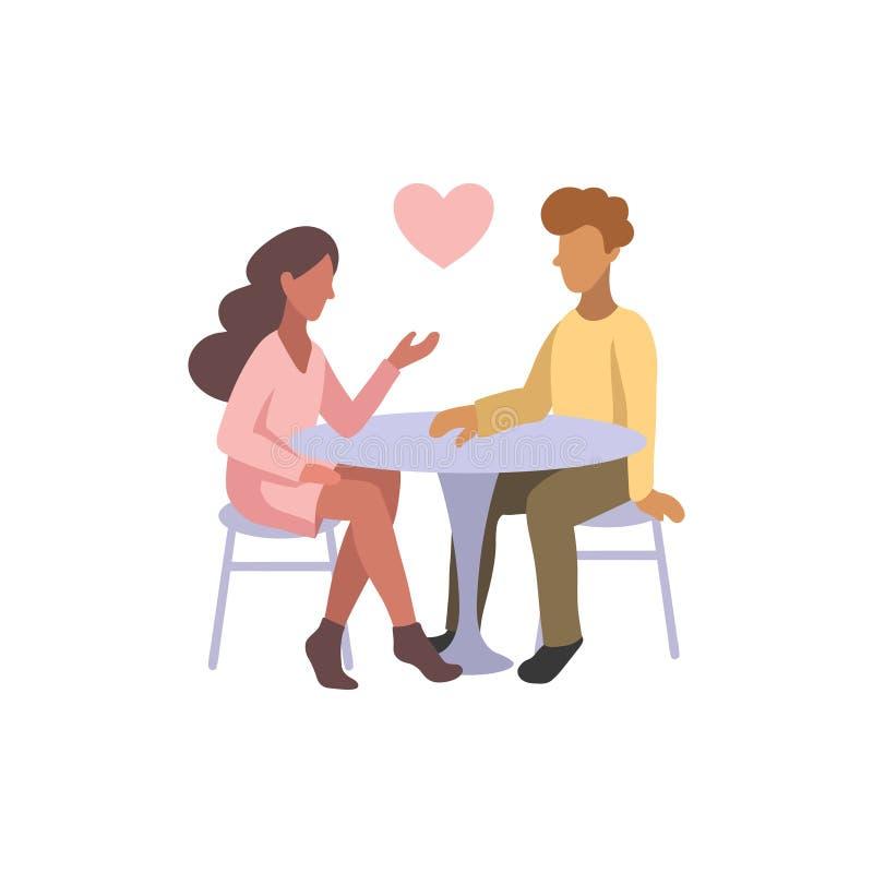 Διανυσματική απεικόνιση του ρομαντικού ζεύγους που κουβεντιάζει για τις ειδήσεις, κοινωνικά δίκτυα Άνθρωποι που κάθονται σε έναν  ελεύθερη απεικόνιση δικαιώματος