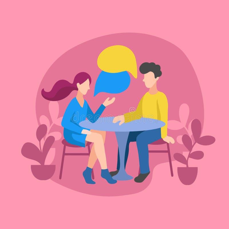 Διανυσματική απεικόνιση του ρομαντικού ζεύγους που κουβεντιάζει για τις ειδήσεις, κοινωνικά δίκτυα Άνθρωποι που κάθονται σε έναν  απεικόνιση αποθεμάτων