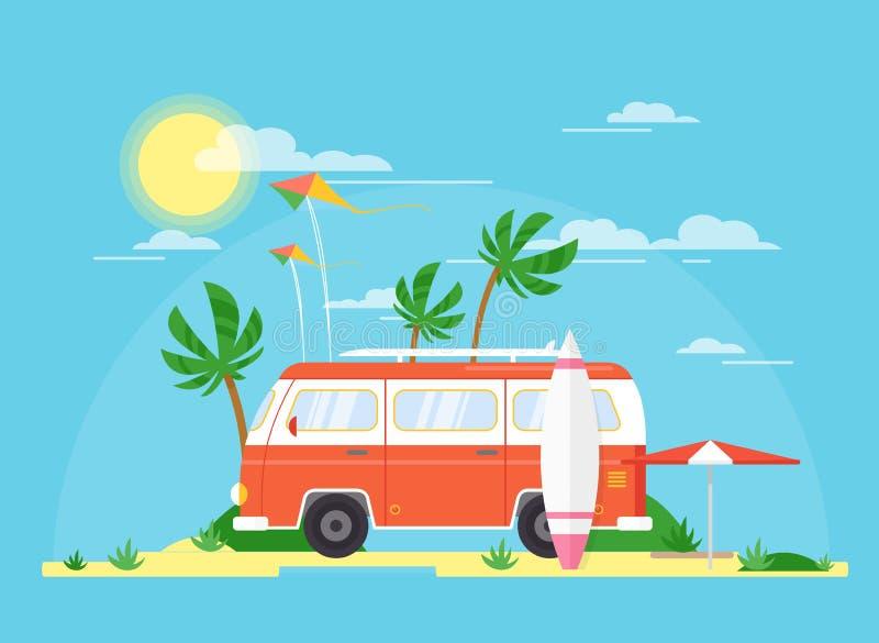 Διανυσματική απεικόνιση του σερφ του λεωφορείου με έναν κάνοντας σερφ πίνακα στο Palm Beach Τουρισμός, έννοια καλοκαιριού Ρυμουλκ διανυσματική απεικόνιση
