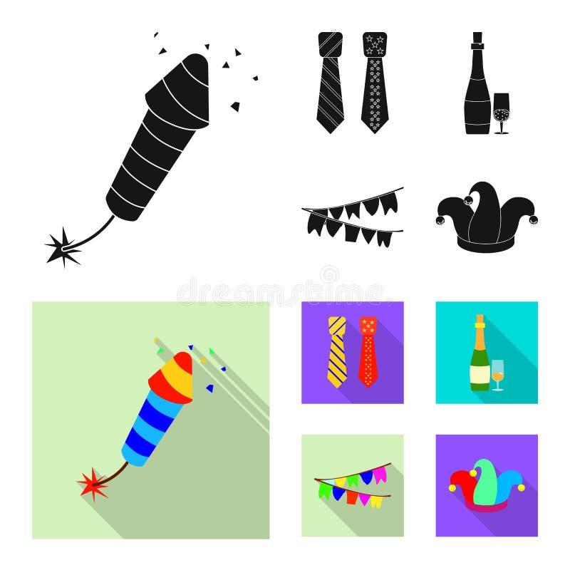 Διανυσματική απεικόνιση του σημαδιού κομμάτων και γενεθλίων Σύνολο συμβόλου αποθεμάτων κομμάτων και εορτασμού για τον Ιστό ελεύθερη απεικόνιση δικαιώματος
