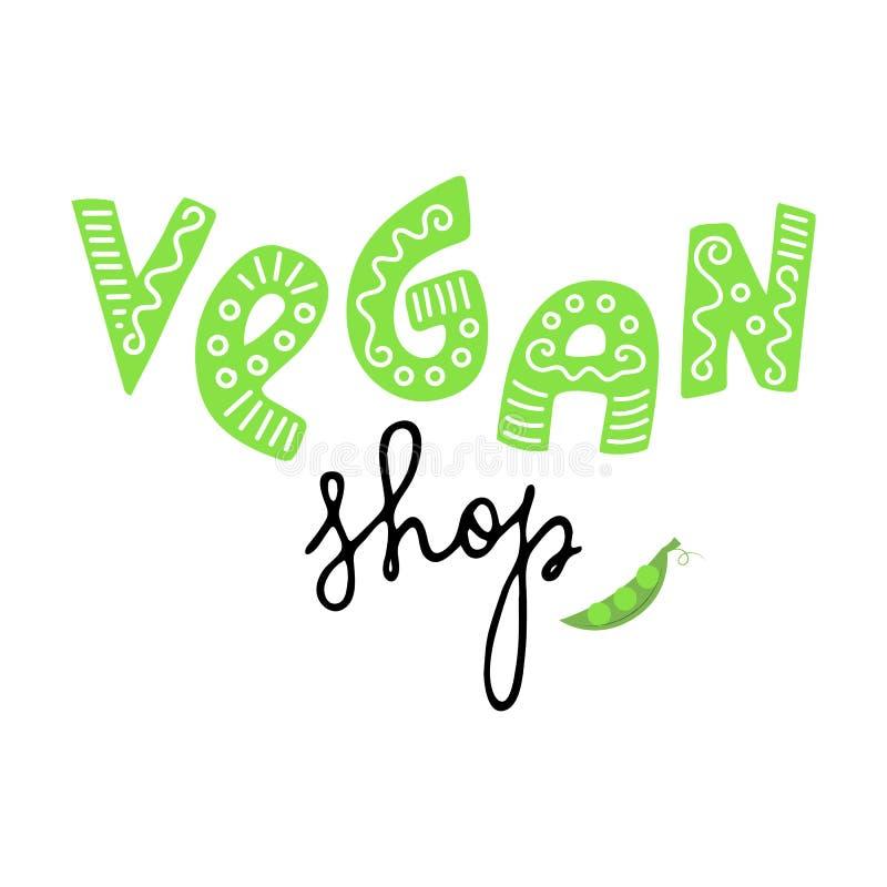 Διανυσματική απεικόνιση του σχεδίου έννοιας καταστημάτων Vegan απεικόνιση αποθεμάτων