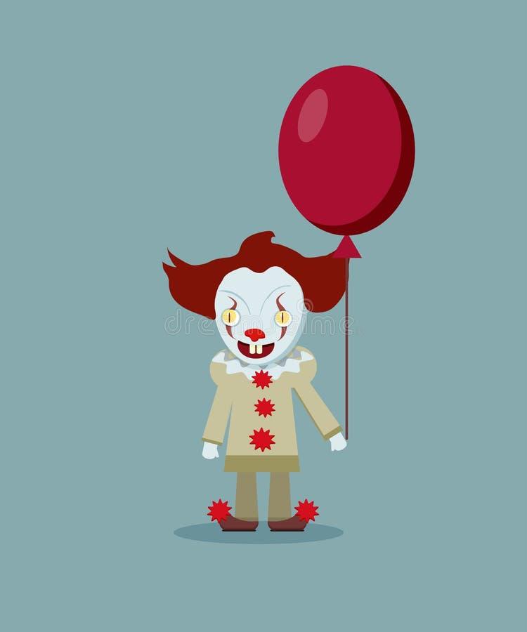 Διανυσματική απεικόνιση του τρομακτικού κακού κλόουν με το κόκκινο μπαλόνι Εκτάριο ελεύθερη απεικόνιση δικαιώματος