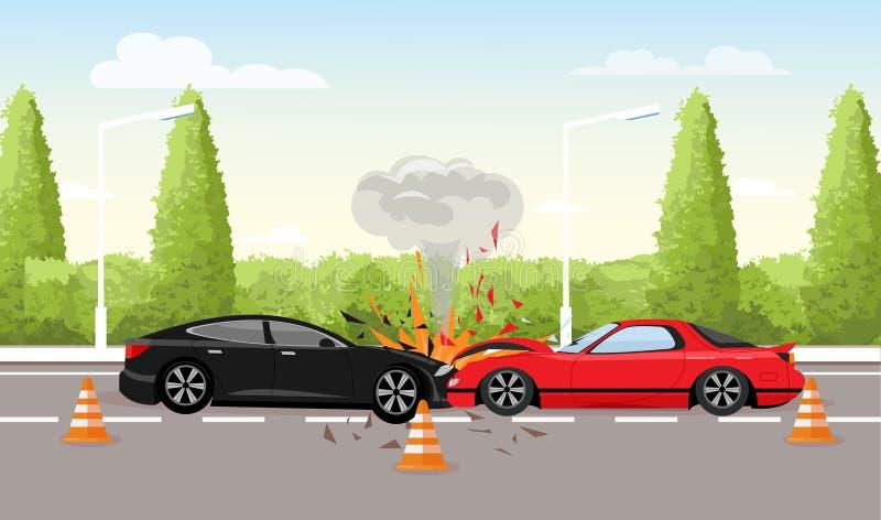 Διανυσματική απεικόνιση του τροχαίου στο δρόμο Συντριβή δύο αυτοκινήτων, έννοια τροχαίου στο επίπεδο ύφος διανυσματική απεικόνιση