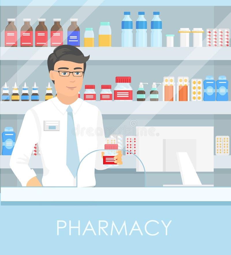 Διανυσματική απεικόνιση του φαρμακοποιού στο φαρμακείο με τα ράφια με τα φάρμακα και τα σημεία στο κιβώτιο με το φάρμακο η έννοια διανυσματική απεικόνιση