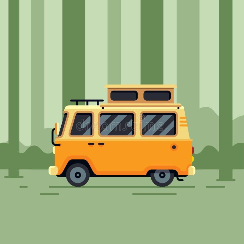 Διανυσματική απεικόνιση του φορτηγού τροχόσπιτων στο δάσος στοκ φωτογραφίες