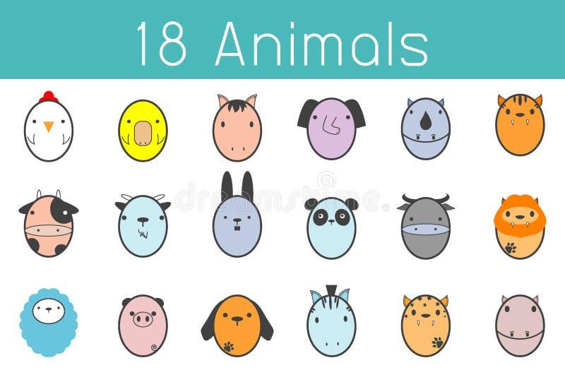 Διανυσματική απεικόνιση του χαριτωμένου ζωικού συνόλου, αστείο ζώο 18 απεικόνιση αποθεμάτων