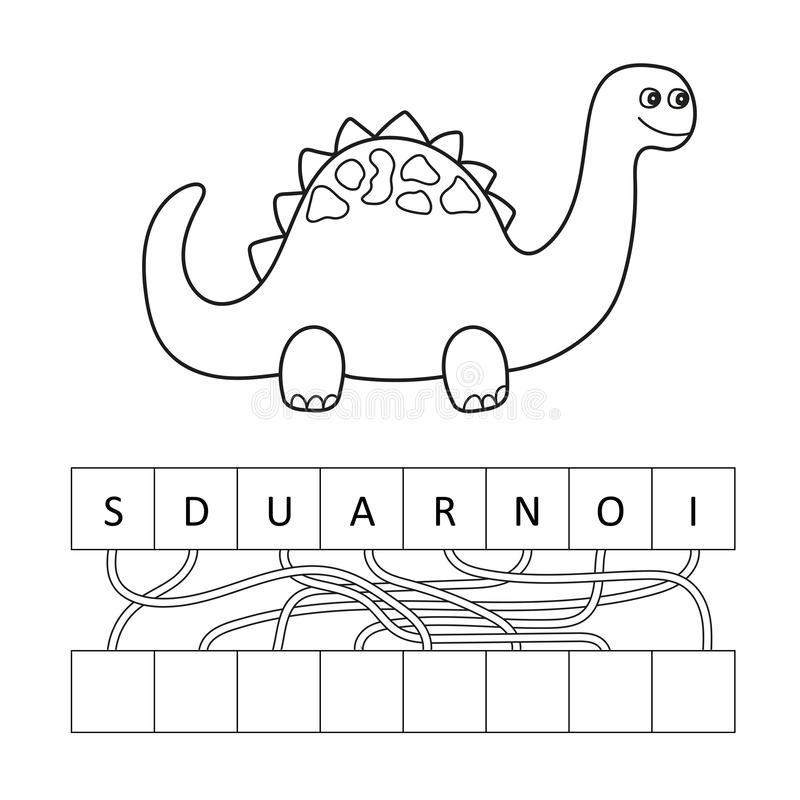 Διανυσματική απεικόνιση του χαριτωμένου χαρακτήρα δεινοσαύρων κινούμενων σχεδίων για τα παιδιά, χρωματισμός απεικόνιση αποθεμάτων