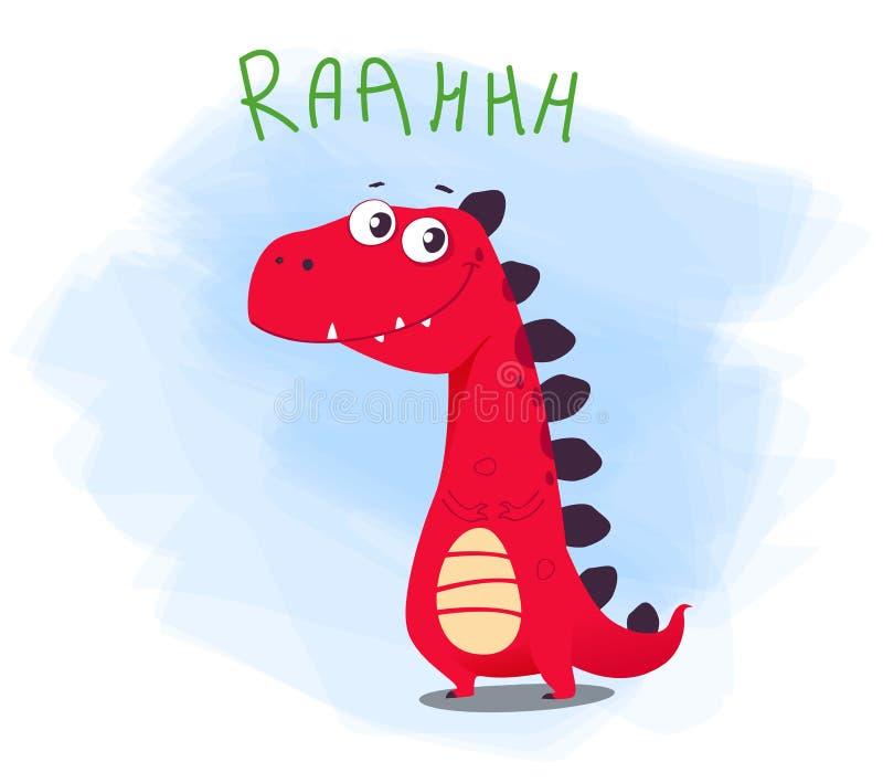 Διανυσματική απεικόνιση του χαριτωμένου χαρακτήρα του Dino κινούμενων σχεδίων απεικόνιση αποθεμάτων