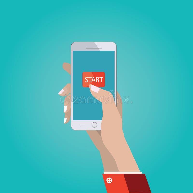 Διανυσματική απεικόνιση του χεριού με το έξυπνο τηλέφωνο, διεπαφή W αφής ελεύθερη απεικόνιση δικαιώματος