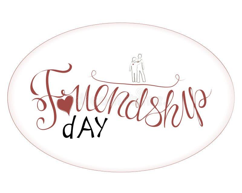 Διανυσματική απεικόνιση του χεριού που σύρεται ευτυχής ημέρα φιλίας διανυσματική απεικόνιση