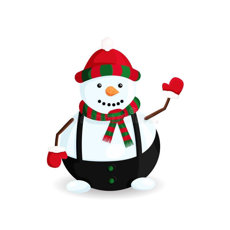 Διανυσματική απεικόνιση του χιονανθρώπου στο ριγωτά καπέλο και το μαντίλι ελεύθερη απεικόνιση δικαιώματος