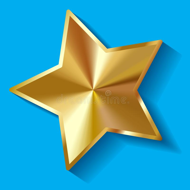 Διανυσματική απεικόνιση του χρυσού λαμπρού αστεριού της Βηθλεέμ σε ένα μπλε υπόβαθρο ελεύθερη απεικόνιση δικαιώματος