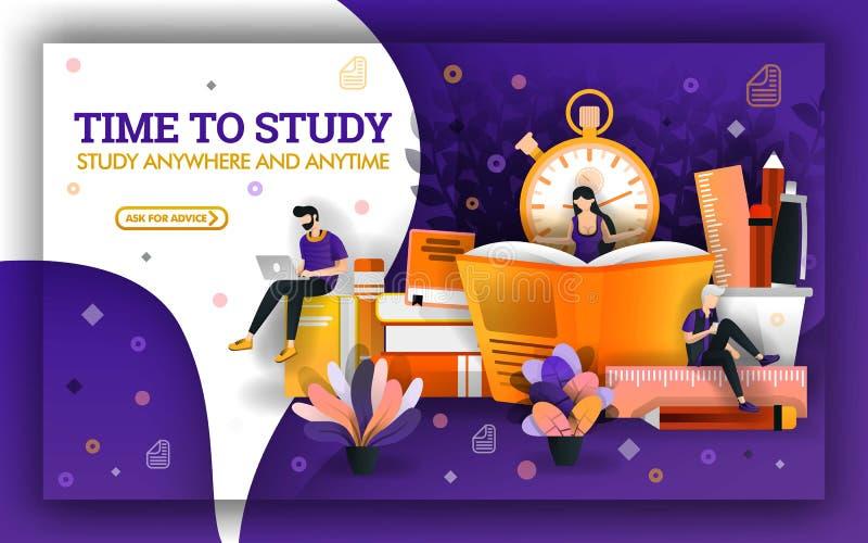 Διανυσματική απεικόνιση του χρόνου μελέτης Τα επίκαιρα γεγονότα εκπαίδευσης απαιτούν τους σπουδαστές για να εκμεταλλευτούν το χρό διανυσματική απεικόνιση