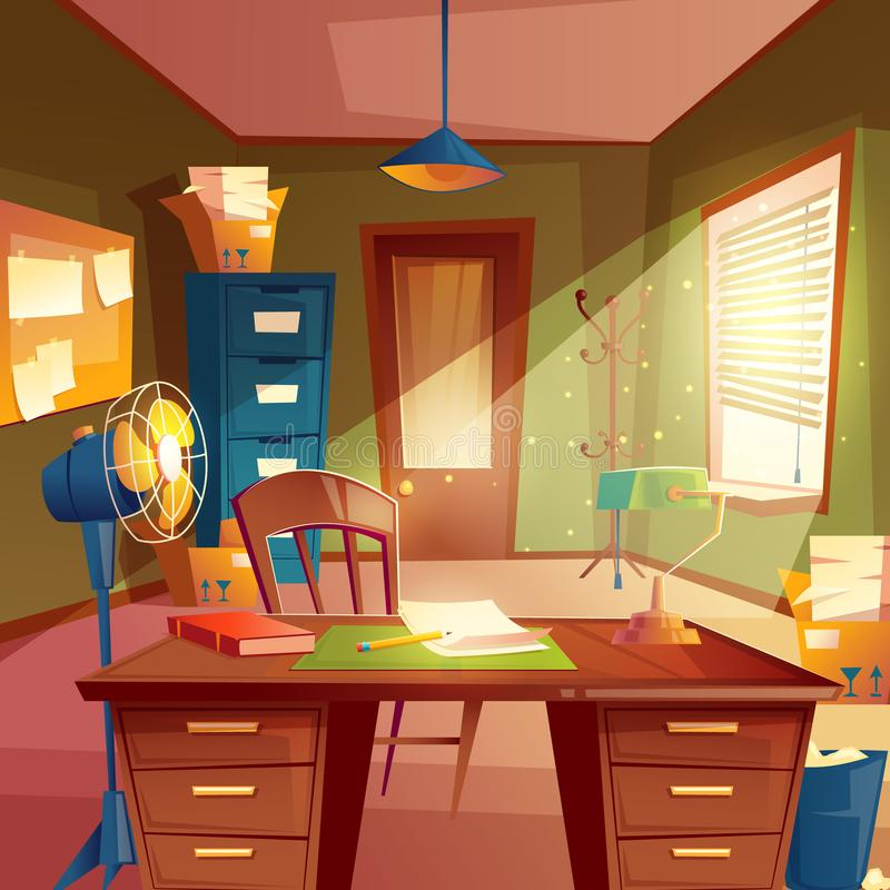 Διανυσματική απεικόνιση του χώρου εργασίας, εσωτερικό δωματίων μελέτης Υπολογιστής γραφείου, θέση της αντιπροσωπείας, έννοια για  ελεύθερη απεικόνιση δικαιώματος