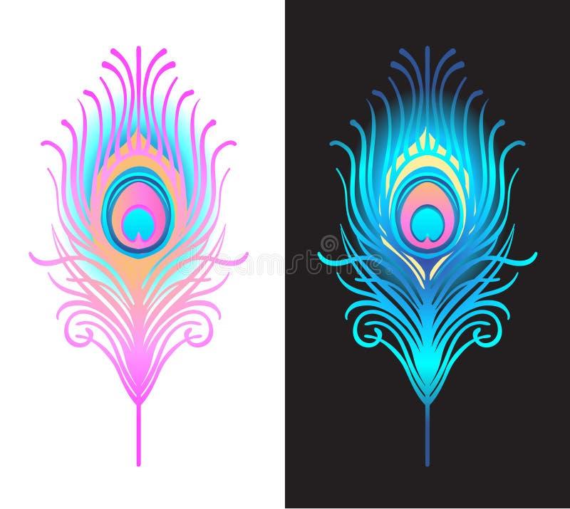 Διανυσματική απεικόνιση του όμορφου συνόλου φτερών peacock που απομονώνεται επάνω διανυσματική απεικόνιση