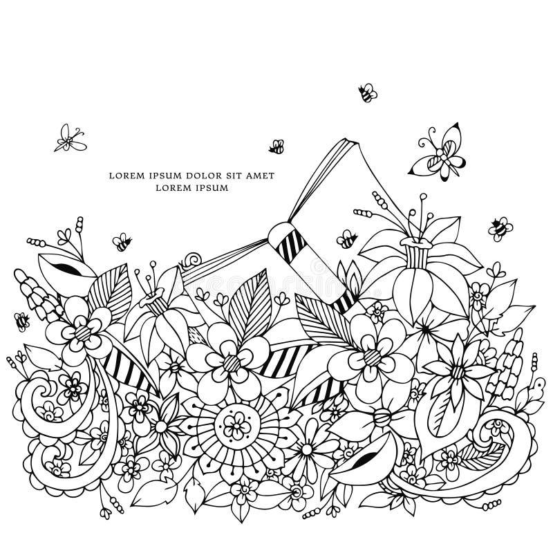 Διανυσματική απεικόνιση του floral πλαισίου zentangle, Zenart, doodle, λουλούδια, πεταλούδες, λεπτός, όμορφες ελεύθερη απεικόνιση δικαιώματος