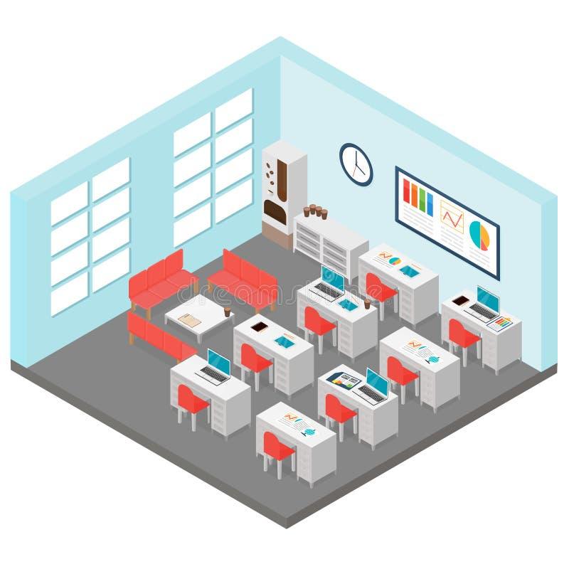 Διανυσματική απεικόνιση του isometric δωματίου γραφείων Περιλαμβάνει τον πίνακα, καρέκλες γραφείων, μηχανή καφέ, lap-top στο επίπ ελεύθερη απεικόνιση δικαιώματος