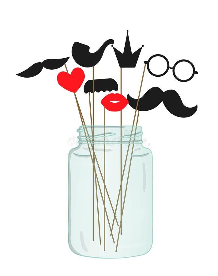 Διανυσματική απεικόνιση του moustache, γυαλιά, χείλια, καρδιά, κορώνα, σωλήνας στο ραβδί σε ένα βάζο γυαλιού ελεύθερη απεικόνιση δικαιώματος