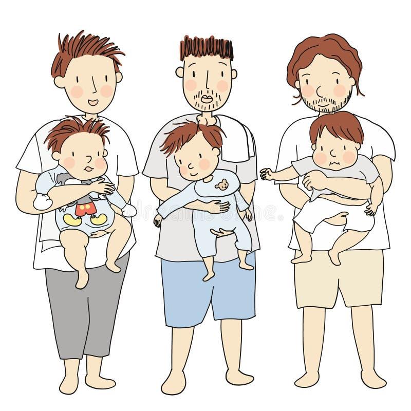 Διανυσματική απεικόνιση τριών πατέρων που κρατούν τα παιδάκια τους από κοινού ελεύθερη απεικόνιση δικαιώματος