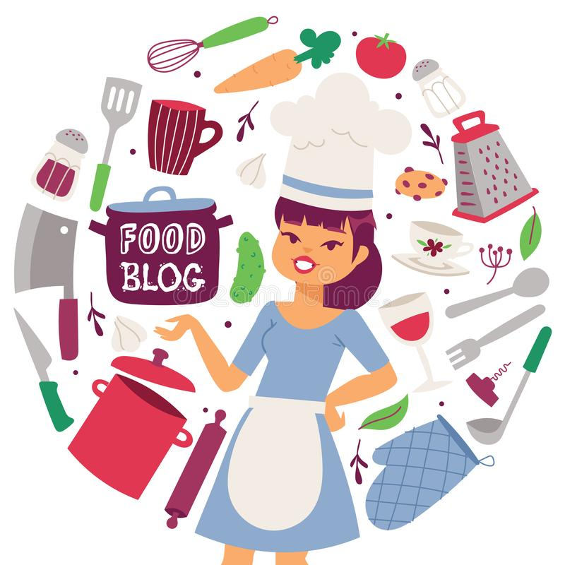 Διανυσματική απεικόνιση τροφίμων blog Συσκευές μαγειρέματος και εργαλείων και τροφίμων εστιατορίων υπόβαθρο Θηλυκός μάγειρας σε ο ελεύθερη απεικόνιση δικαιώματος