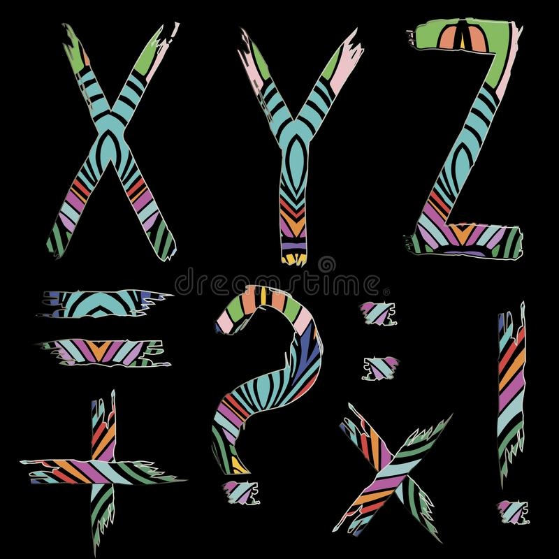 Διανυσματική απεικόνιση τυπογραφίας πηγών Abc που τίθεται με το grunge ριγωτό διανυσματική απεικόνιση