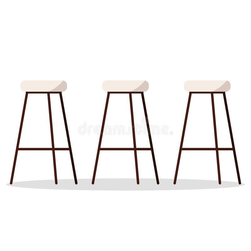 Διανυσματική απεικόνιση των άνετων και άνετων ξύλινων καρεκλών φραγμών ή κουζινών μετάλλων υψηλών με το γεμισμένο κάθισμα διανυσματική απεικόνιση