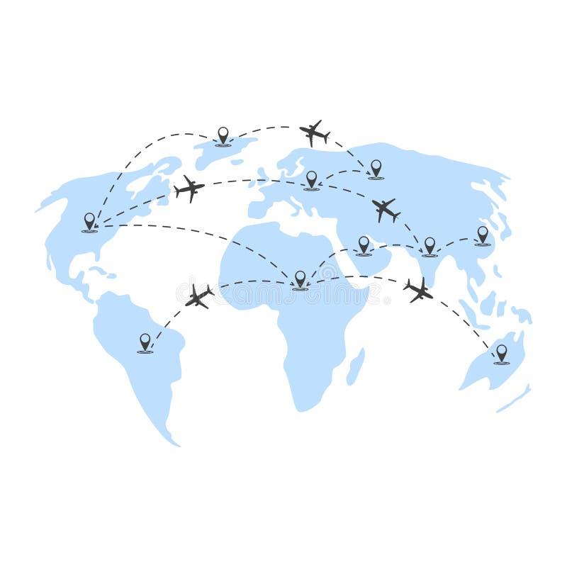 Διανυσματική απεικόνιση των αεροπορικών ταξιδιών σε όλο τον κόσμο Αφηρημένη απεικόνιση των ηπείρων και των σημείων geolocation με απεικόνιση αποθεμάτων