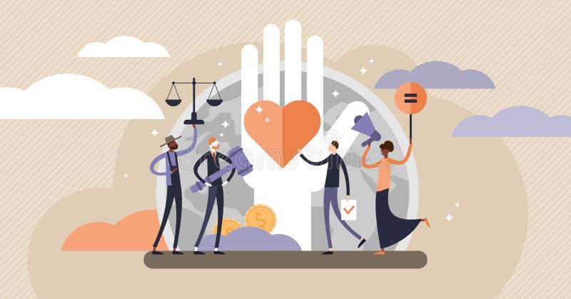 Διανυσματική απεικόνιση των ανθρώπινων δικαιωμάτων Μικροσκοπική έννοια προσώπων ίσου και ποικιλίας ελεύθερη απεικόνιση δικαιώματος