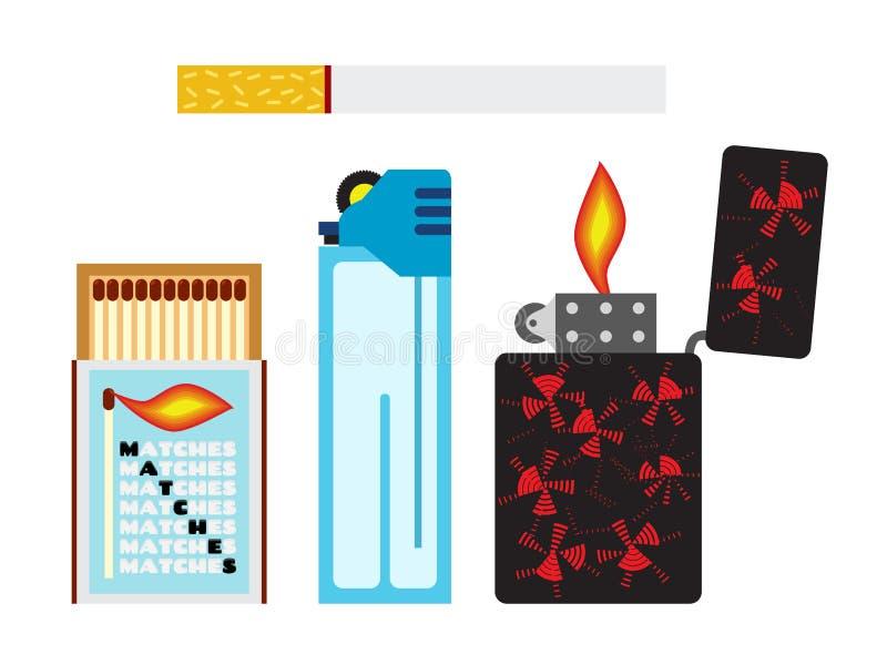 Διανυσματική απεικόνιση των αντιστοιχιών, τσιγάρου και δύο αναπτήρων Επίπεδο ύφος ελεύθερη απεικόνιση δικαιώματος