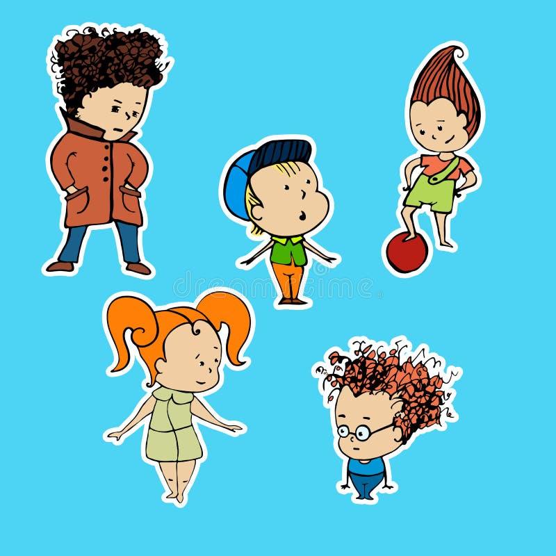 Διανυσματική απεικόνιση των αυτοκόλλητων ετικεττών παιδιών μιας ομάδας απεικόνιση αποθεμάτων