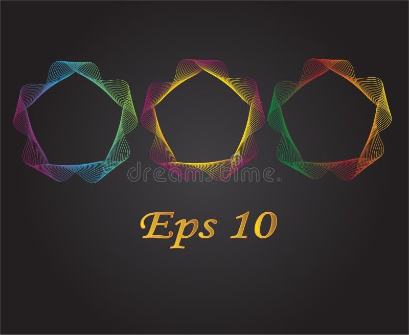 Διανυσματική απεικόνιση των αφηρημένων χρωματισμένων γραμμών σε έναν κύκλο σε ένα μαύρο υπόβαθρο στοκ εικόνες