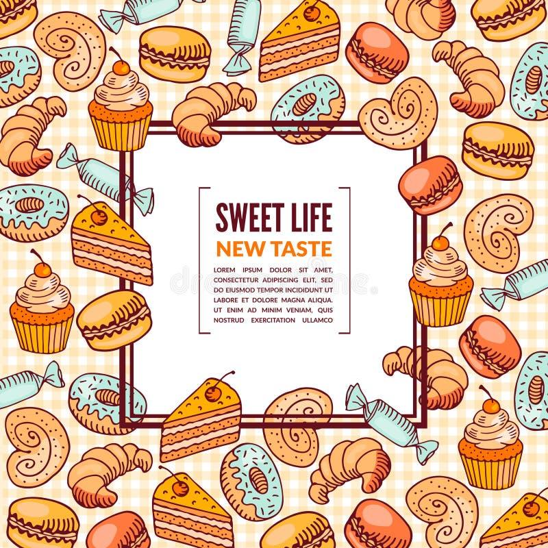 Διανυσματική απεικόνιση των γλυκών τροφίμων Ζωηρόχρωμα σκιαγραφημένα σκίτσα απεικόνιση αποθεμάτων
