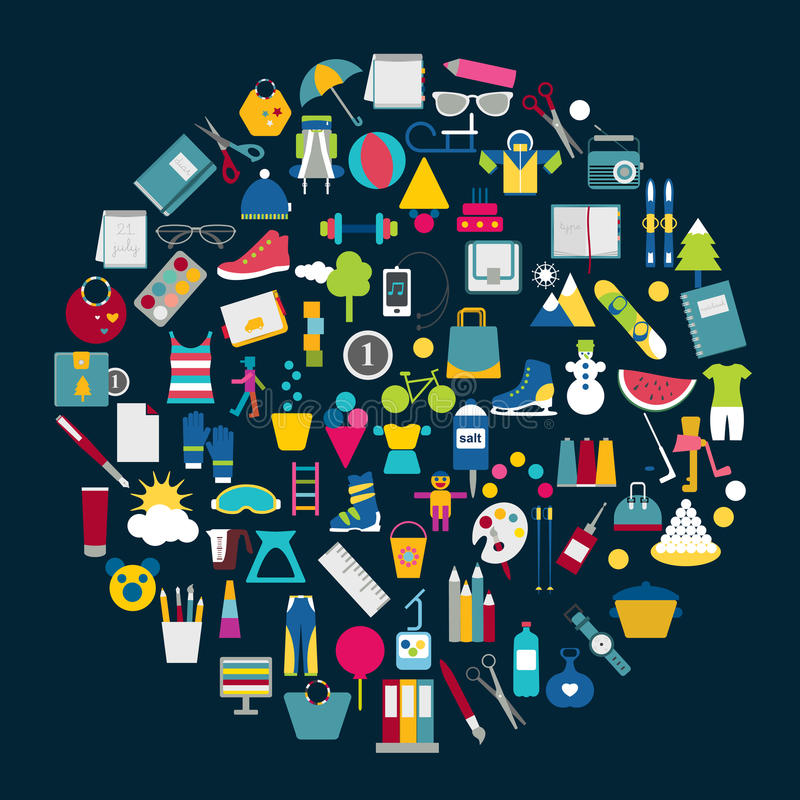 Διανυσματική απεικόνιση των εικονιδίων αγορών ελεύθερη απεικόνιση δικαιώματος