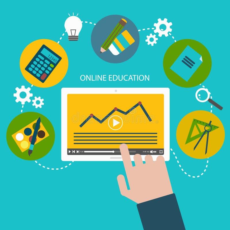 Διανυσματική απεικόνιση των επίπεδων εικονιδίων σχεδίου για τη σε απευθείας σύνδεση εκπαίδευση και την εκμάθηση απεικόνιση αποθεμάτων