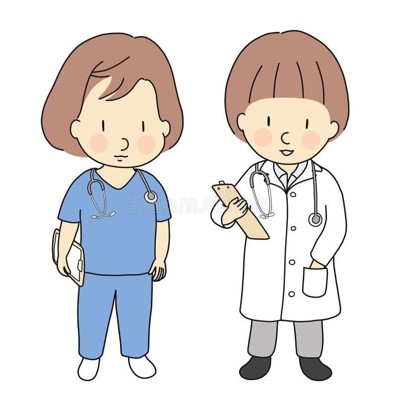 Διανυσματική απεικόνιση των επαγγελμάτων, του γιατρού και της νοσοκόμας παιδιών Τι θέλω για να είμαι όταν μεγαλώστε, κοστούμι επα ελεύθερη απεικόνιση δικαιώματος