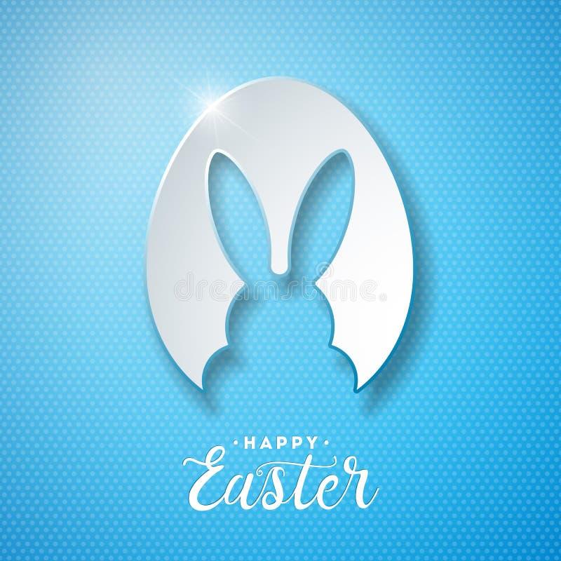 Διανυσματική απεικόνιση των ευτυχών διακοπών Πάσχας με τα αυτιά κουνελιών στην τέμνουσα επιστολή αυγών και τυπογραφίας στο μπλε υ διανυσματική απεικόνιση