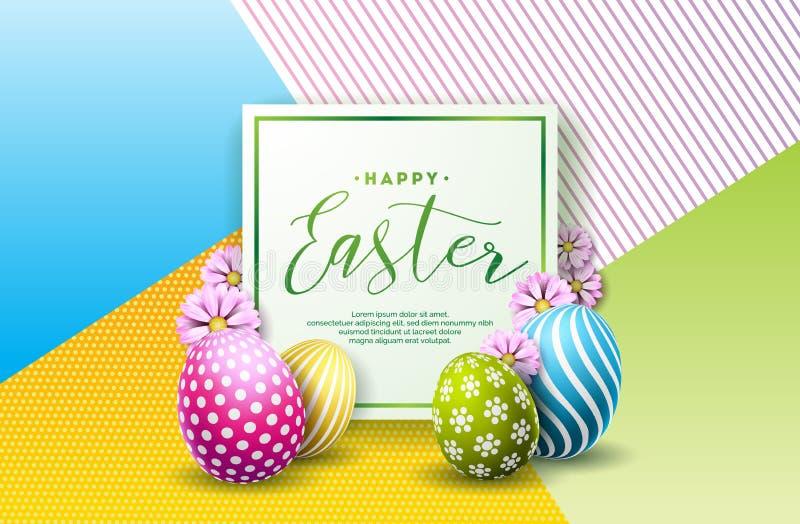 Διανυσματική απεικόνιση των ευτυχών διακοπών Πάσχας με το χρωματισμένα αυγό και το λουλούδι στο καθαρό υπόβαθρο Διεθνής εορτασμός ελεύθερη απεικόνιση δικαιώματος