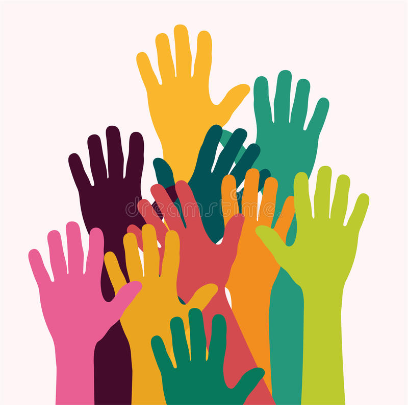 Ζωηρόχρωμα χέρια παιδιών διανυσματική απεικόνιση