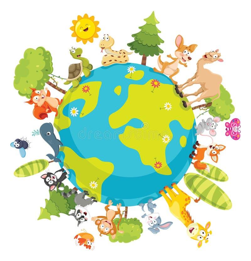 Διανυσματική απεικόνιση των ζώων κινούμενων σχεδίων ελεύθερη απεικόνιση δικαιώματος