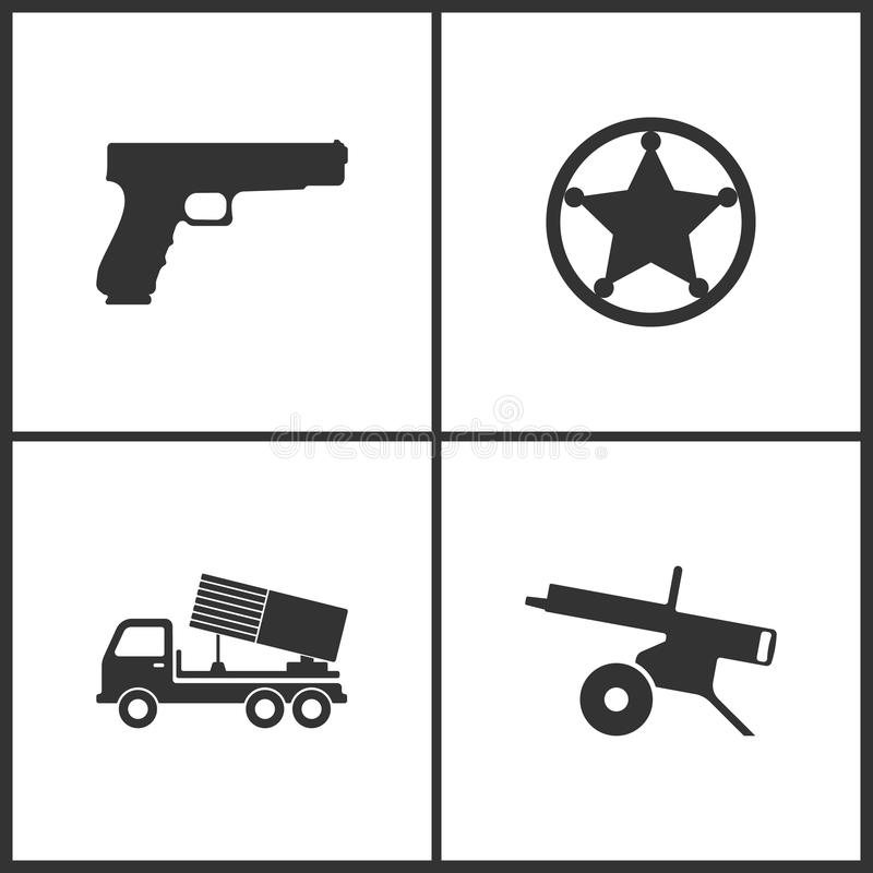 Διανυσματική απεικόνιση των καθορισμένων εικονιδίων όπλων Κατάλληλος για τη χρήση στον Ιστό apps, τα κινητά apps και το μέσο εκτύ απεικόνιση αποθεμάτων