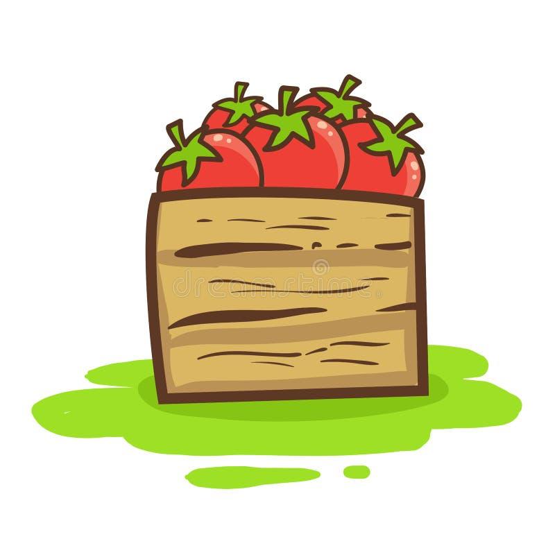 Διανυσματική απεικόνιση των κόκκινων ντοματών στο ξύλινο κιβώτιο διανυσματική απεικόνιση